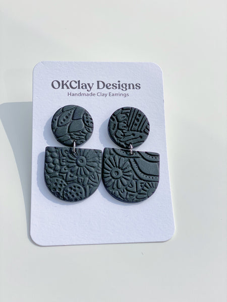 Black Mayfair Texture Earrings