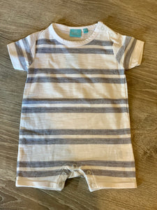 White and Blue Striped Romper