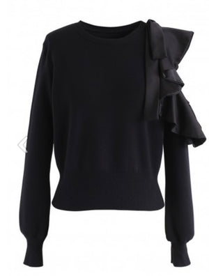 Open sleeve ruffle sweater