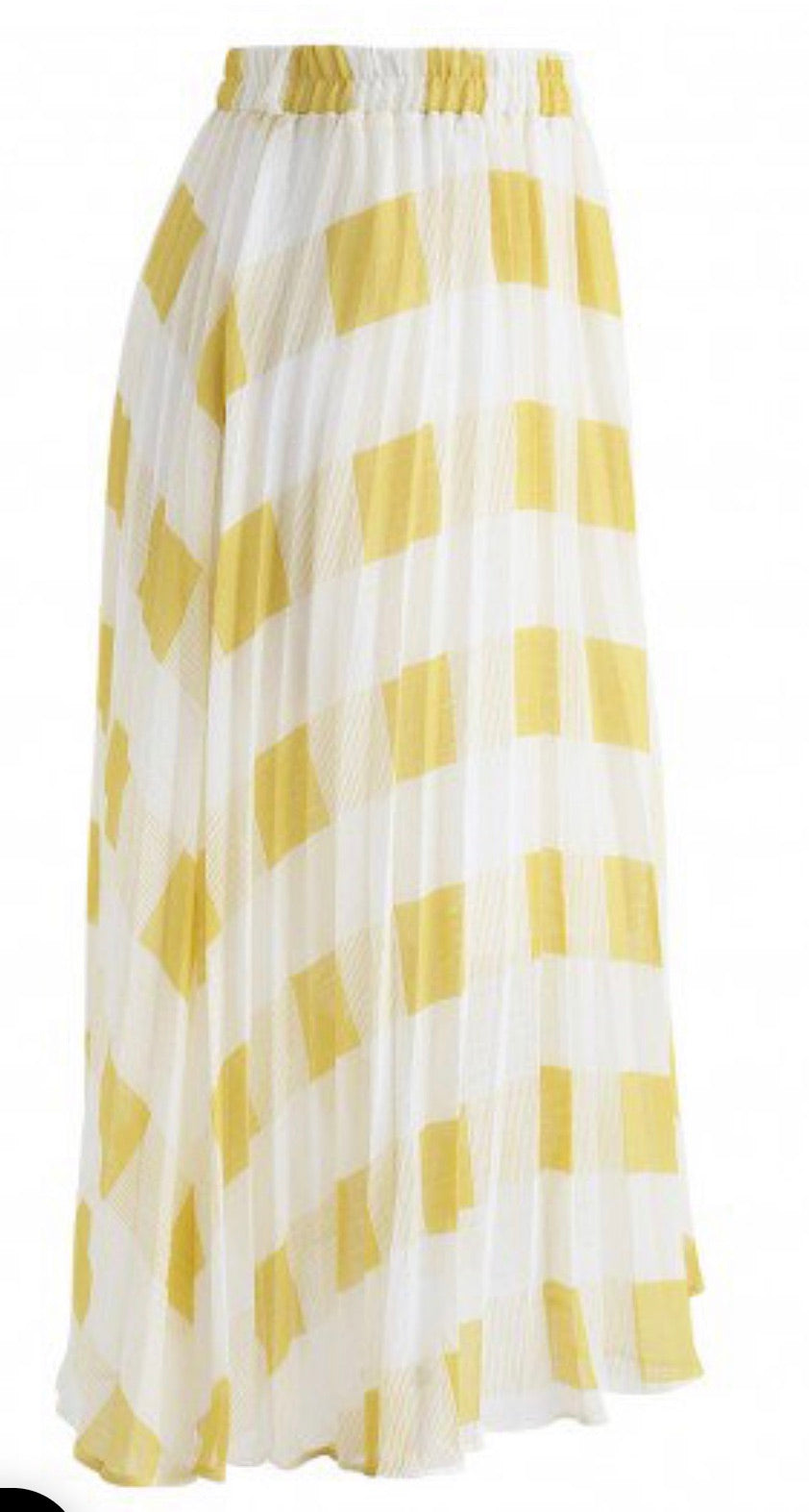 Yellow Check Midi Skirt
