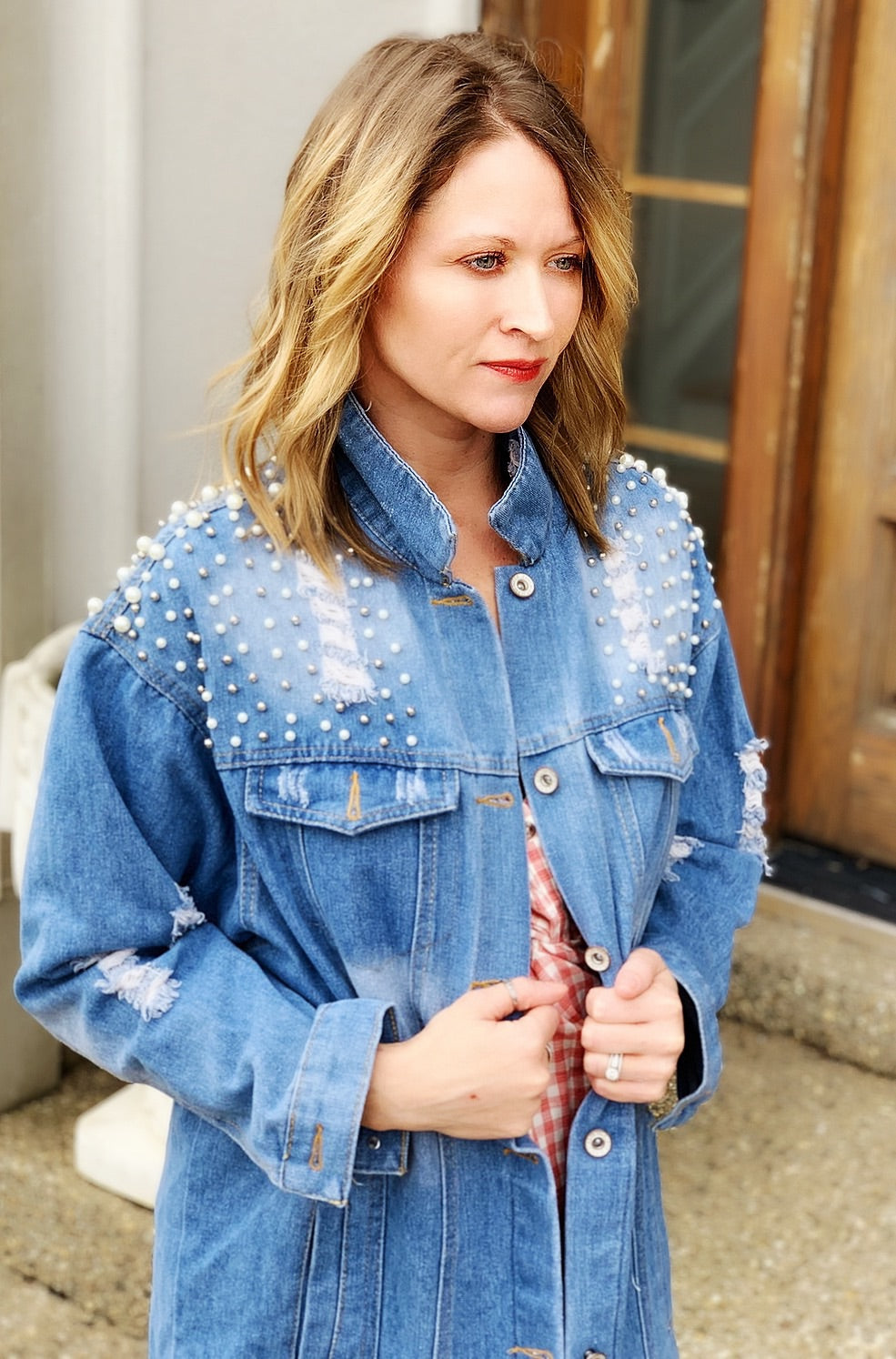 Distressed Studded Pearl Denim Jacket