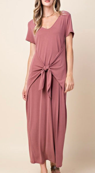 Tie front T-shirt Maxi Dress