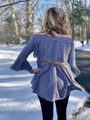 Off The Shoulder Gingham Top