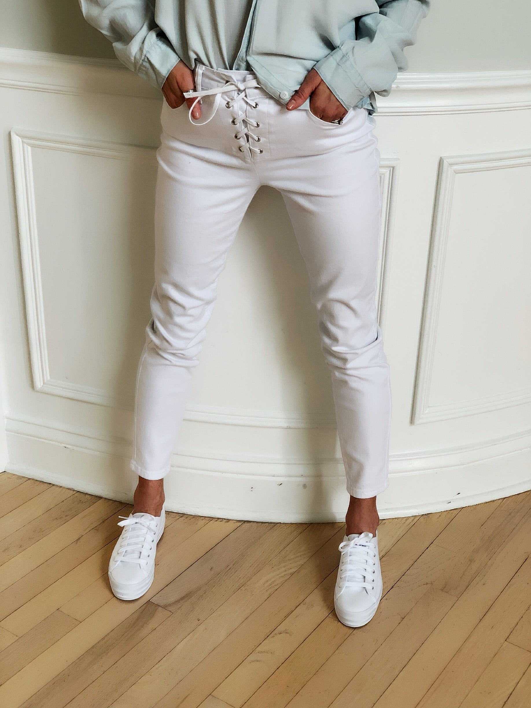 White Lace up Skinny Jeans