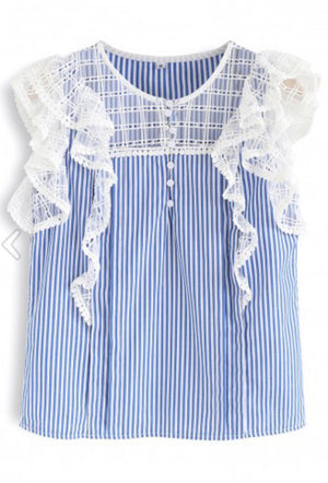 Ruffle and Lace Stripe Top