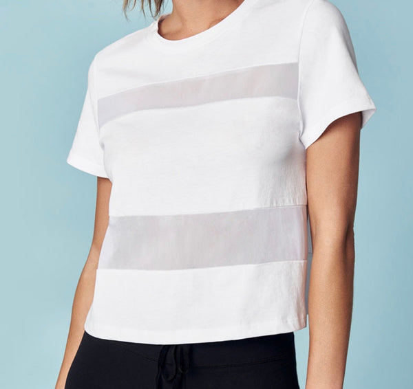 White All Hours Panel Crop Tee