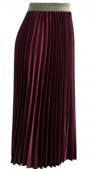 Burgundy Pleated Midi Skirt
