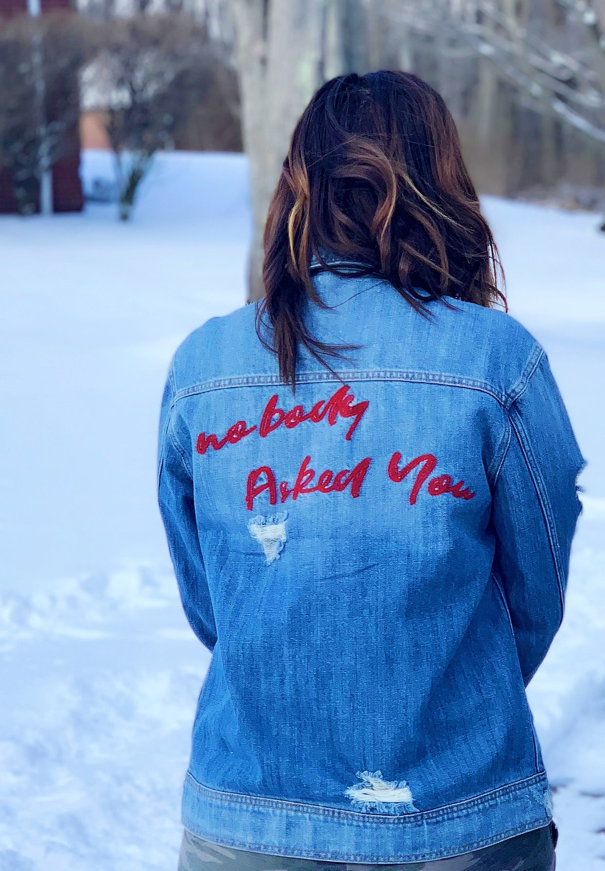 """Nobody Asked You"" Embroidered Denim Jacket"