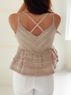 Peplum Cross Back Tank