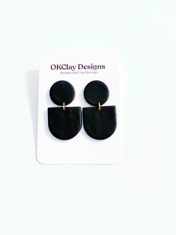 Solid Black Mayfair Smooth Earrings