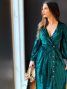 ANGELLA GREEN VELVET DRESS
