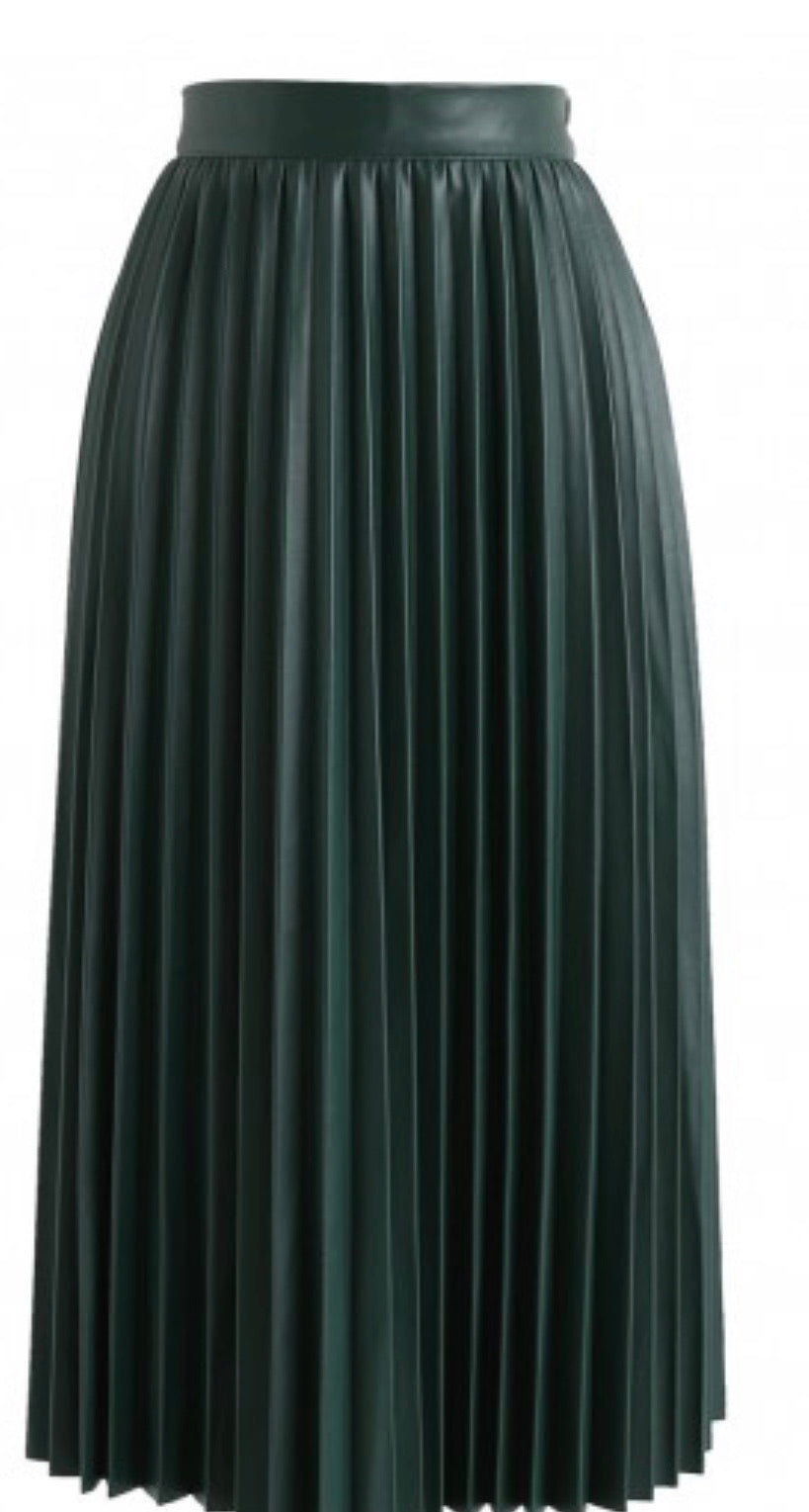 Hunter Green Faux Leather Midi Skirt