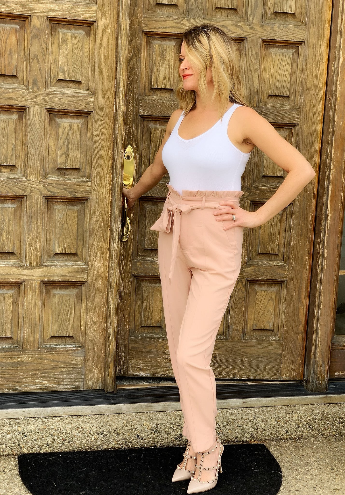 Blush Tie Front Trousers