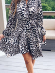 Shawl Collar Leopard Dress