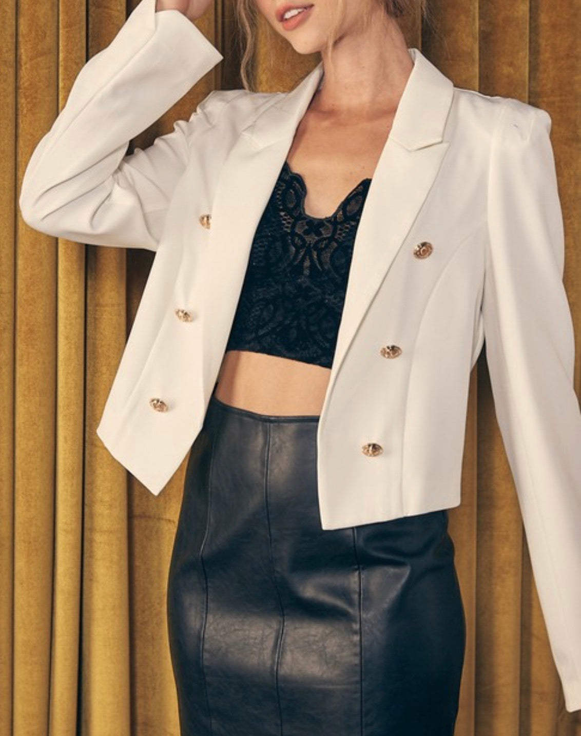 White Button Cropped Blazer