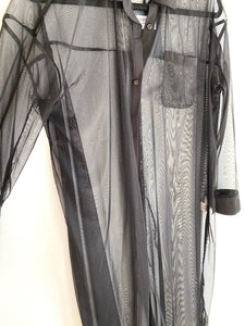 Tulle Shirt Dress - Black
