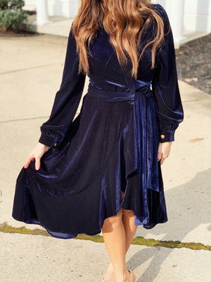 MIDNIGHT ASYMMETRICAL WRAP DRESS