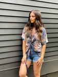 Distressed Knot Front Tie-dye Tee