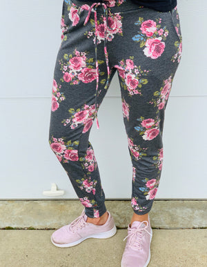 Grey Floral Joggers