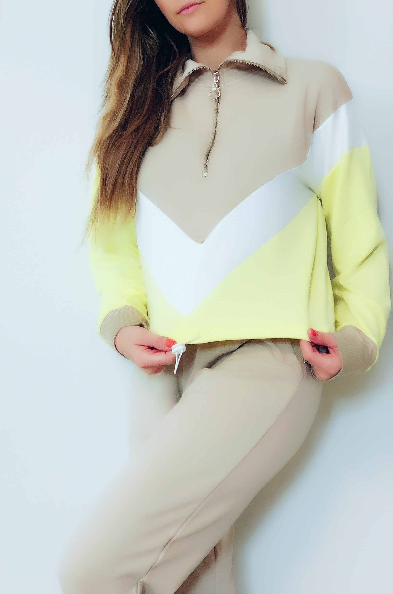 Cropped Color Block Hoodie