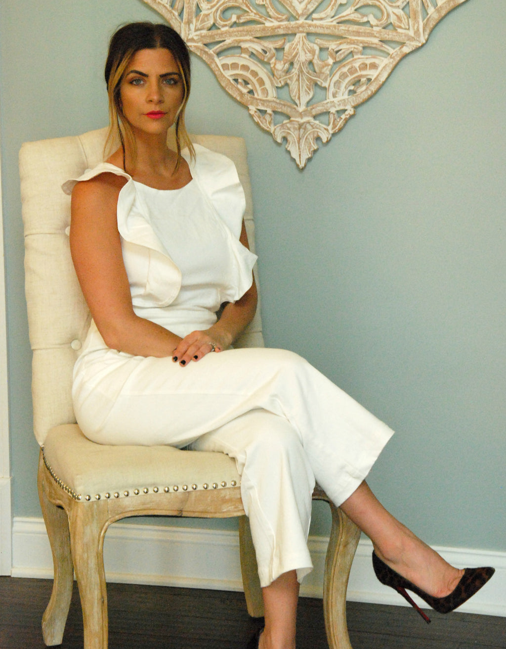 White Denim Ruffle Jumpsuit