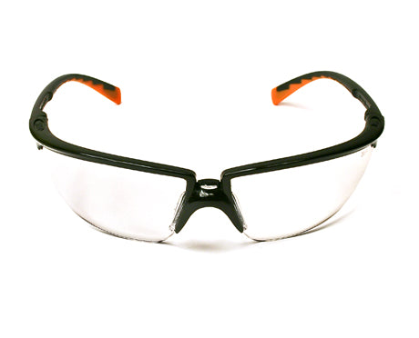 Stylish Privo unisex protective eyewear (1/PACKAGE). Black/orange frame, with Clear anti-fog lens for all-day indoor and outdoor use.