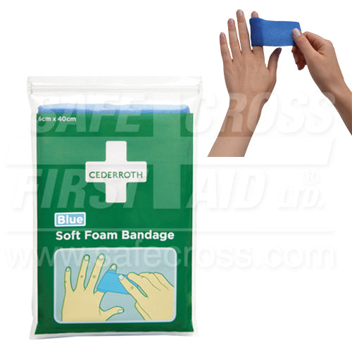 Cederroth, Soft Foam Bandage, Blue, 6 x 40 cm