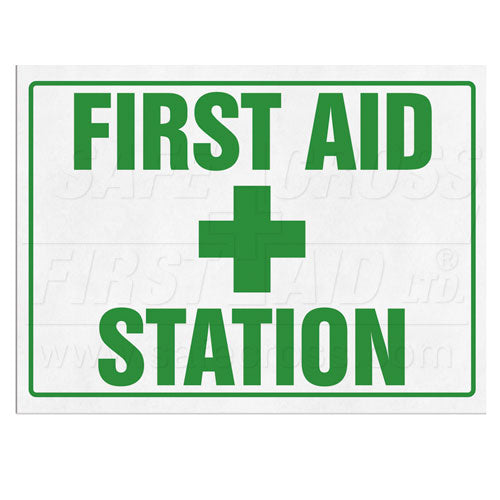 "Sign, ""First Aid Station"", 25.4 x 35.6 cm"