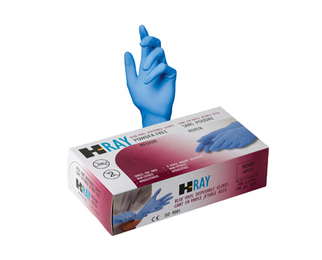 Blue Vinyl Gloves Industrial Grade CASE OF 10 BOXES OF 100 GLOVES