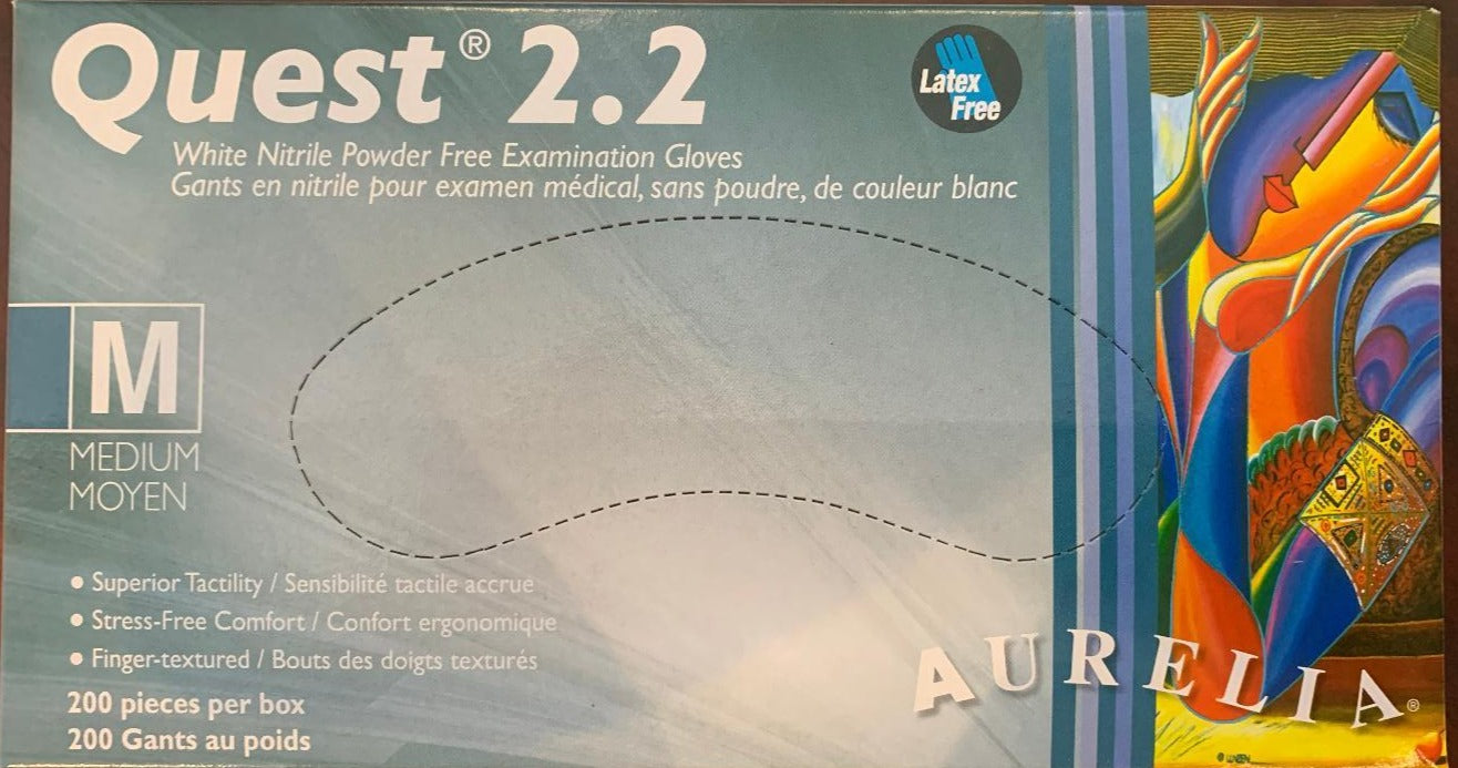 Quest 2.2 White Nitrile Examination Gloves (2000s) (200 Per Box) (10 Boxes Per Case)