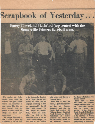 Emery Blackford with the Somerville Printers baseball team.