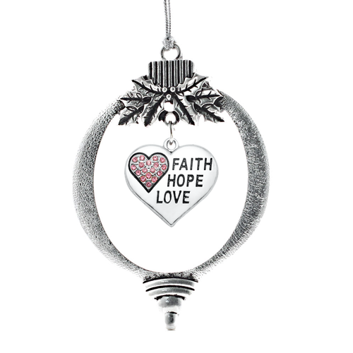 Faith Hope Love Pave Heart Charm Christmas / Holiday Ornament