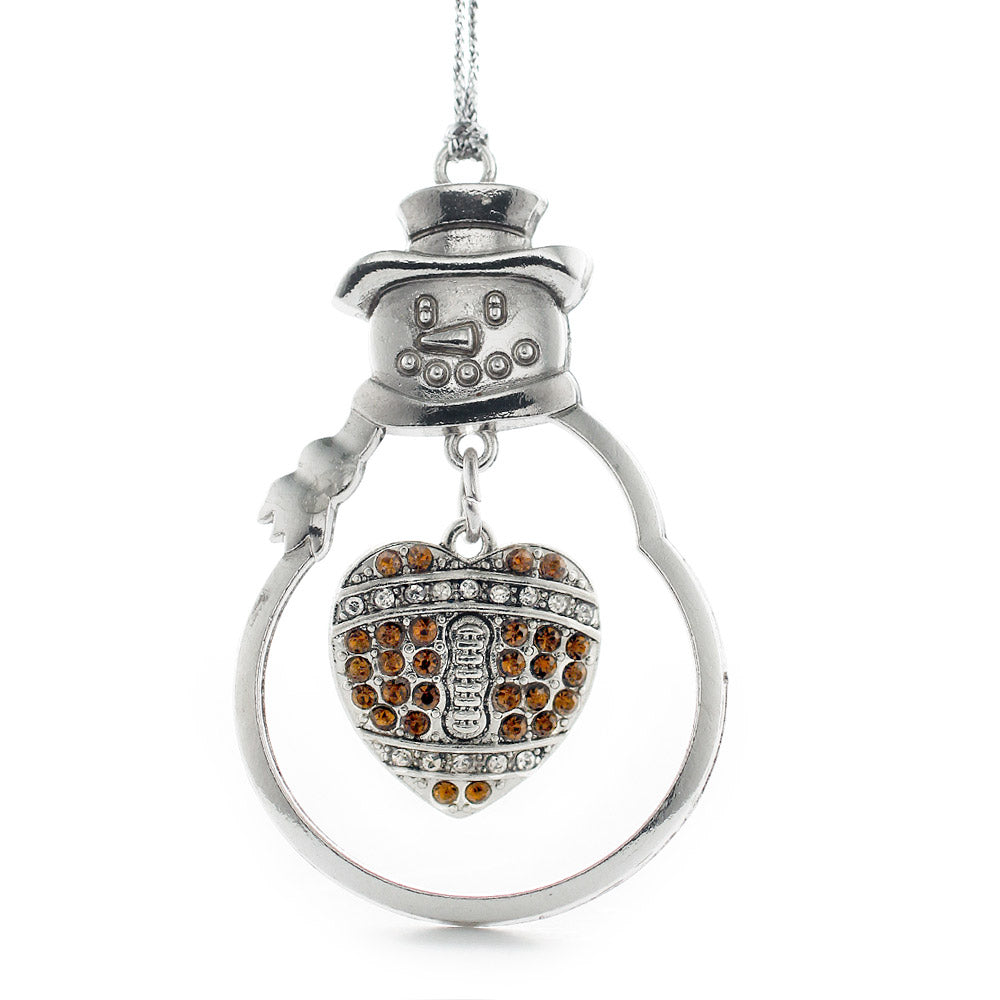 3.5 Carat Pave Football Pave Heart Charm Christmas / Holiday Ornament