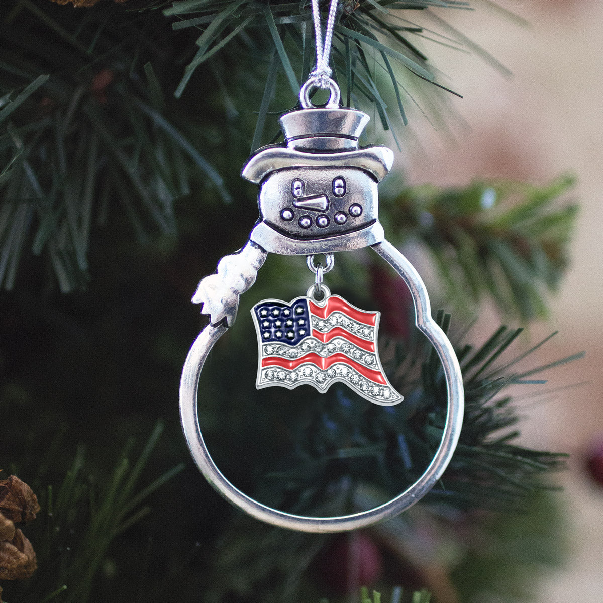 American Flag CZ Print Charm Christmas / Holiday Ornament