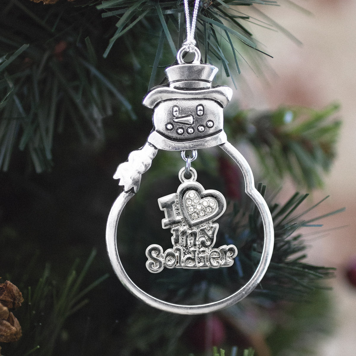 Half Carat I Love My Soldier Charm Christmas / Holiday Ornament