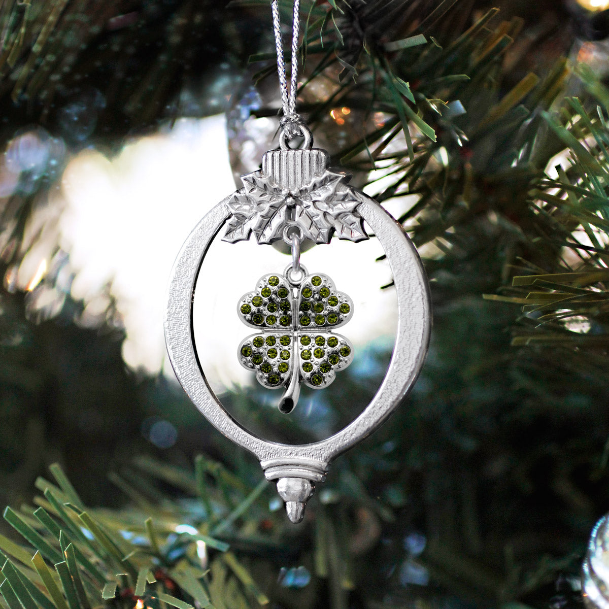 1.0 Carat Four Leaf Clover Charm Christmas / Holiday Ornament