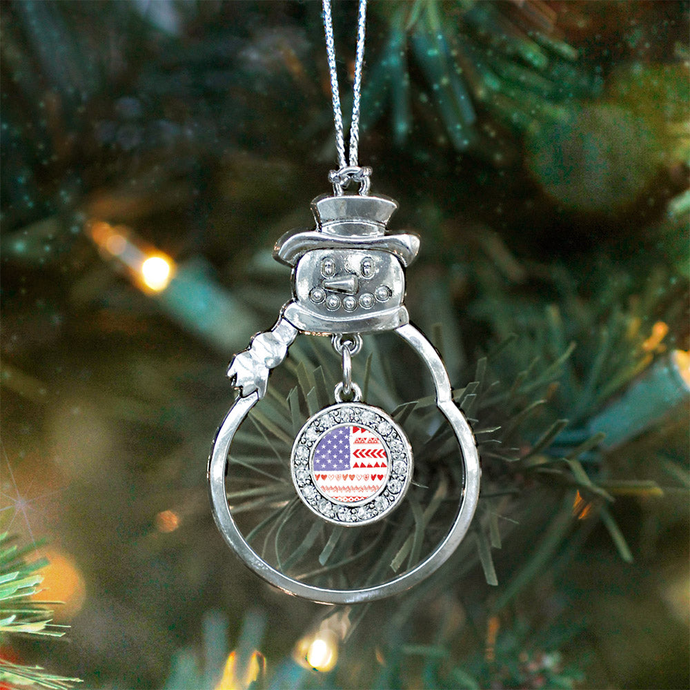 Cute American Flag Circle Charm Christmas / Holiday Ornament