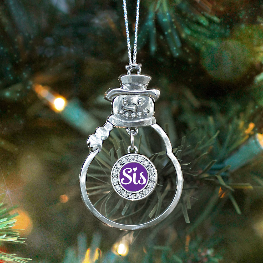 Sis Purple Script Circle Charm Christmas / Holiday Ornament