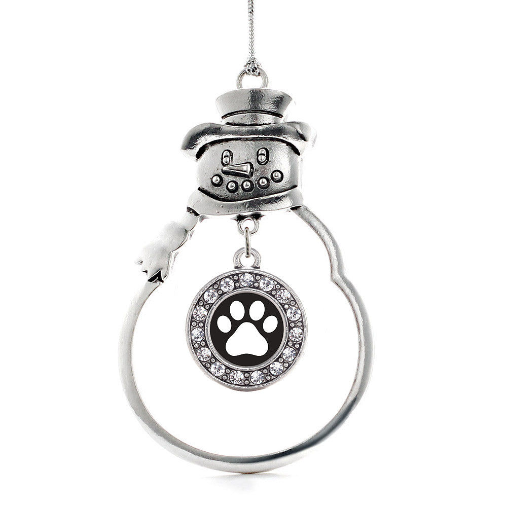 Black and White Paw Print Circle Charm Christmas / Holiday Ornament