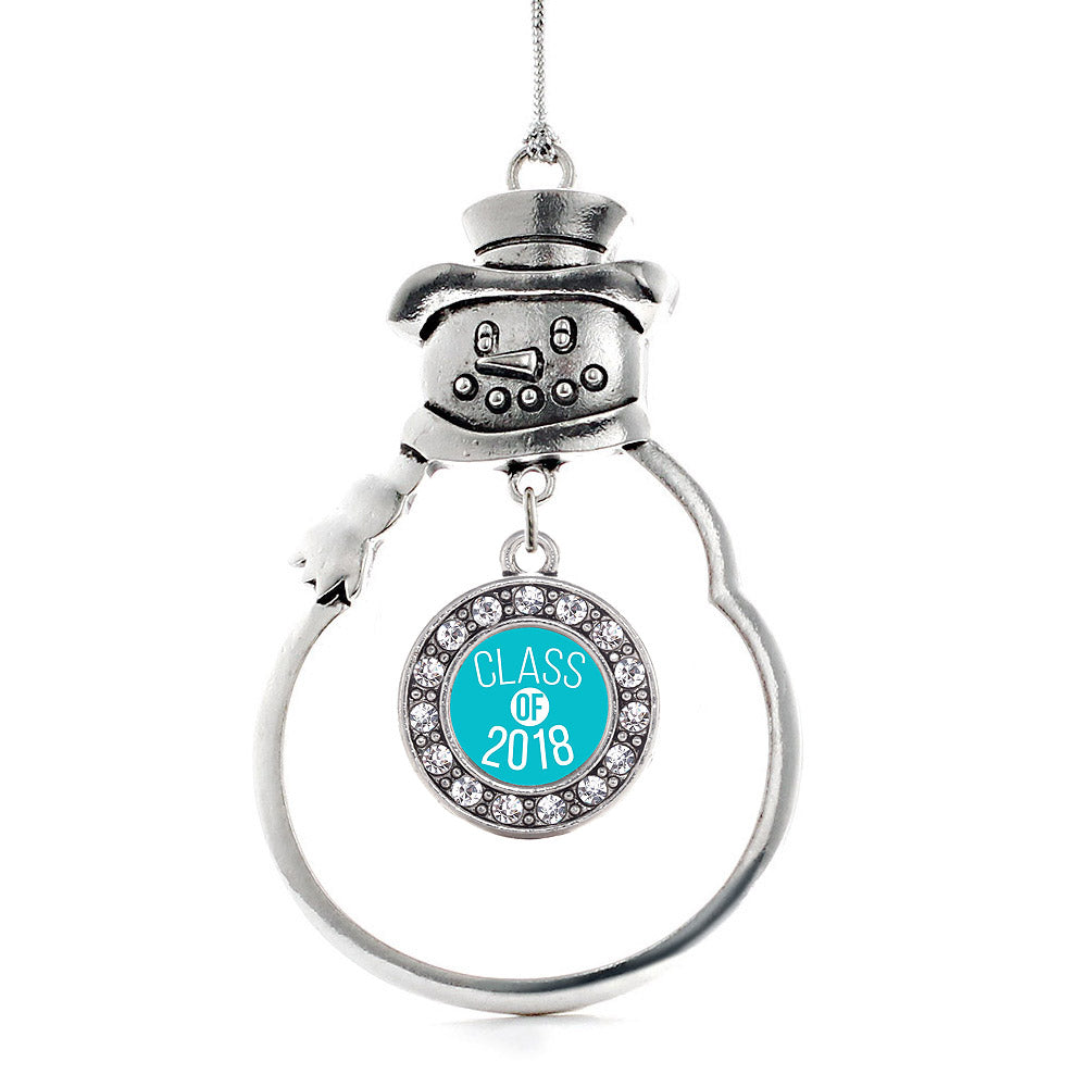 Teal Class of 2018 Circle Charm Christmas / Holiday Ornament