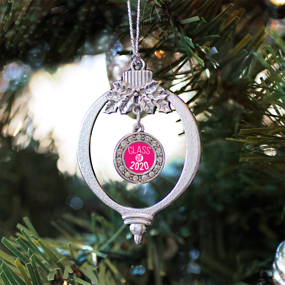 Hot Pink Class of 2020 Circle Charm Christmas / Holiday Ornament