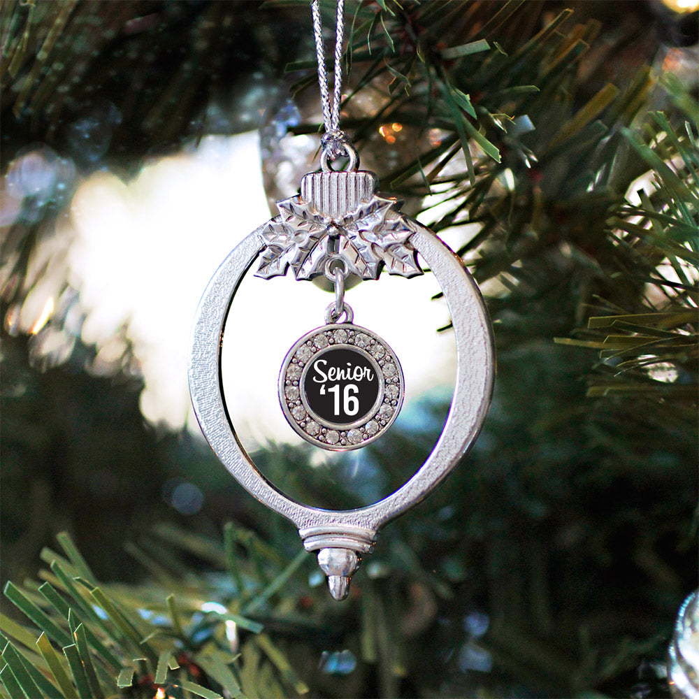 Black And White Senior '16 Circle Charm Christmas / Holiday Ornament