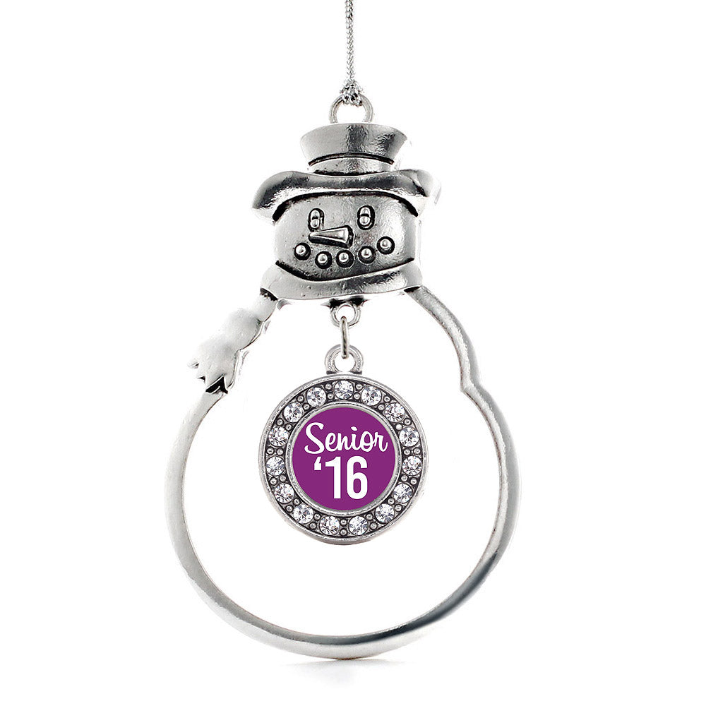 Purple Senior '16 Circle Charm Christmas / Holiday Ornament