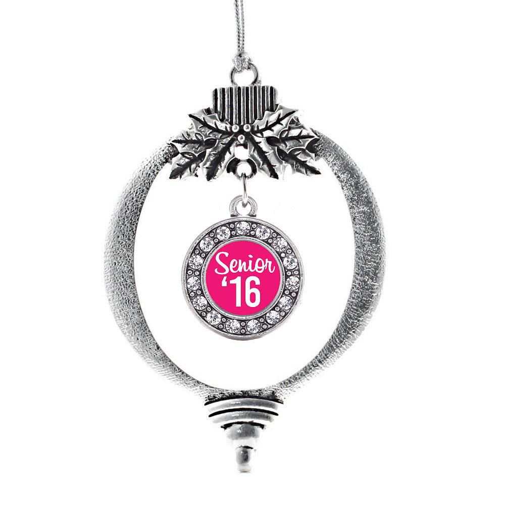 Fuchsia Senior '16 Circle Charm Christmas / Holiday Ornament