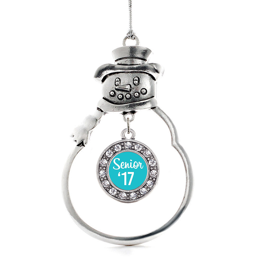 Teal Senior '17 Circle Charm Christmas / Holiday Ornament