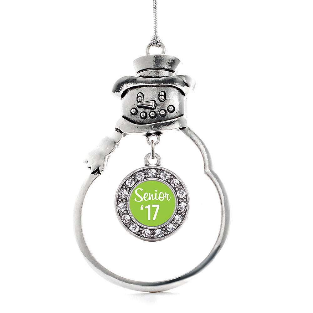 Lime Green Senior '17 Circle Charm Christmas / Holiday Ornament