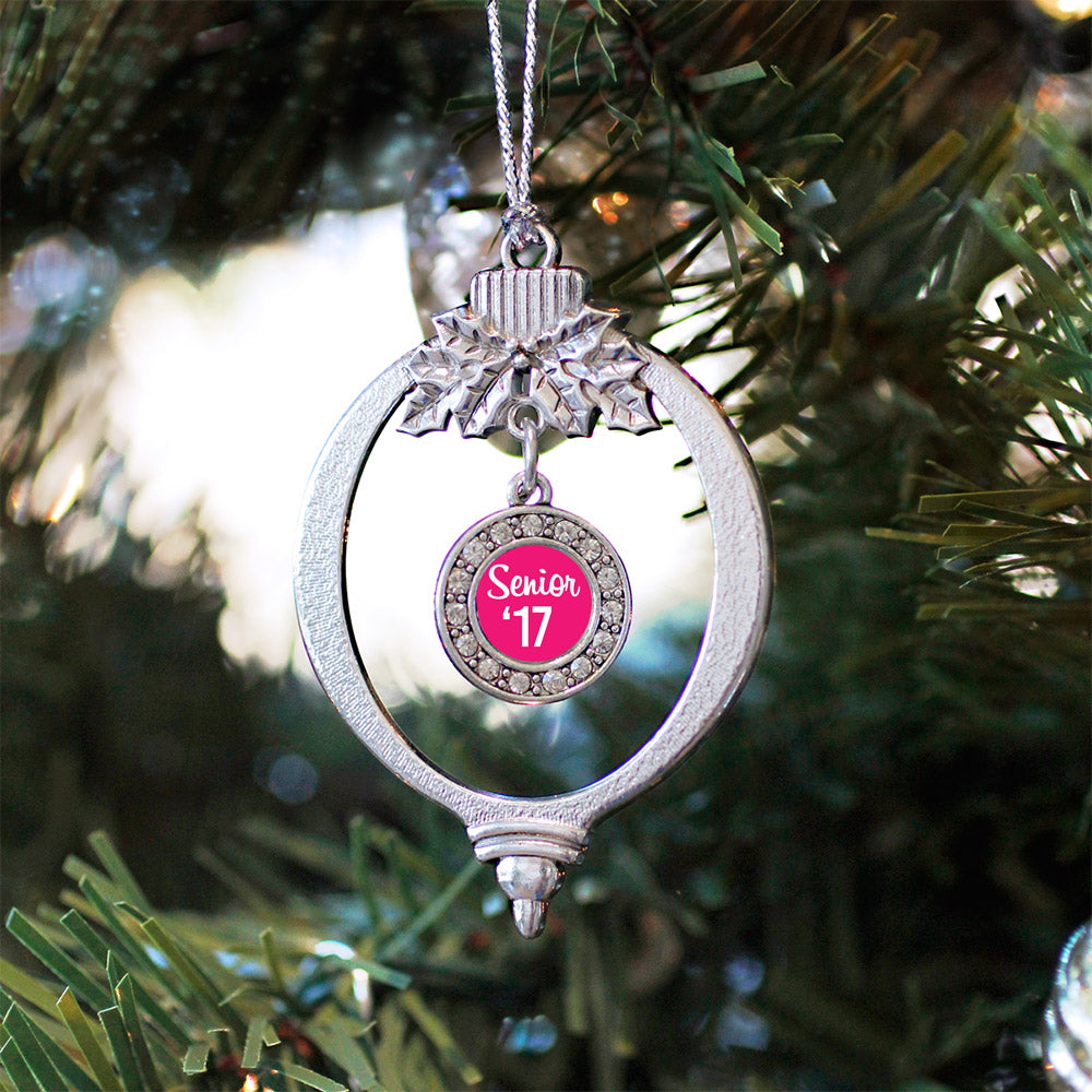 Fuchsia Senior '17 Circle Charm Christmas / Holiday Ornament