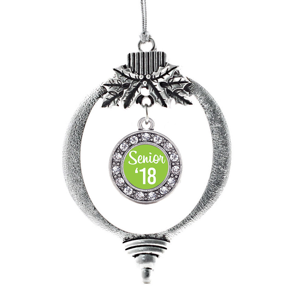 Lime Green Senior '18 Circle Charm Christmas / Holiday Ornament