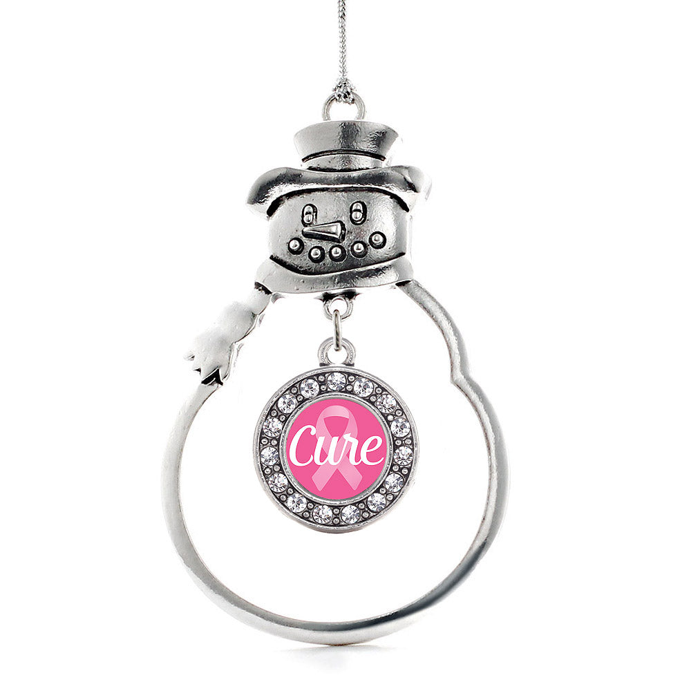 Cure Ribbon Breast Cancer Awareness Circle Charm Christmas / Holiday Ornament