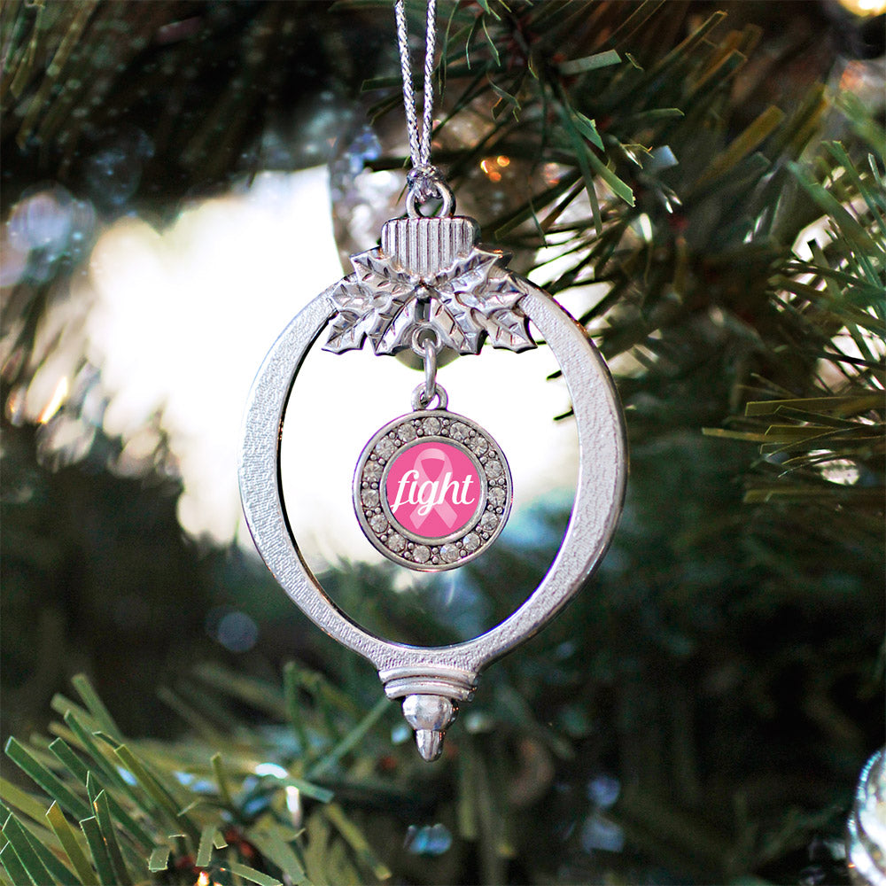 Fight Ribbon Breast Cancer Awareness Circle Charm Christmas / Holiday Ornament
